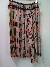 Philippe Adec Women's Black Pink Multi-Color Silk Skirt - Size 2 - NWT