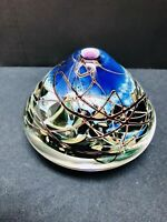 Murano style Signed oil Diffuser/ Vase abstract style purple, blue, grey, White