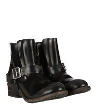 $368 All Saints JULES Biker Ankle Harness Boots Zip Black Leather 36 US5.5/6 LN
