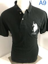 US POLO Assn Big Logo Men's Size L Black white  Horse Short Sleeve Shirt VGC