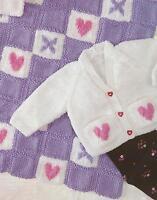 "Baby Heart Blanket and Cardigan Knitting Pattern prem size DK 14-22"" 712"