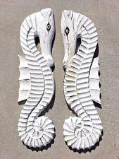 "2 20"" WHITE WASH SEAHORSES WOOD WALL ART HOME DECOR TIKI TROPICAL PATIO HANGING"