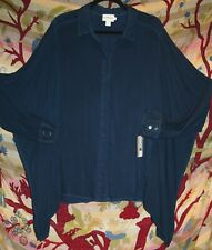 """PURE DKNY Navy Blue Shirt 48""""Bust 10 -16 Large Top Flutter Sleeves pp£159 BNWT"""