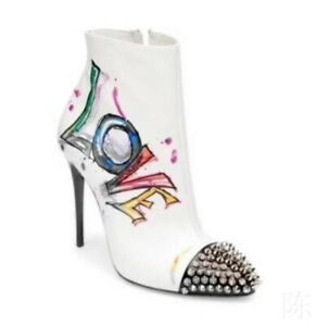Europe Graffiti Pattern Women Pointy Toe Zip Leather Stilettos Heel Ankle Boots