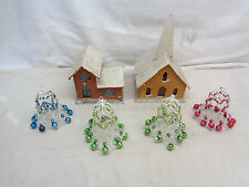 (2) Vintage Cardboard Christmas Houses + (4) Japan Christmas Bell Ornaments