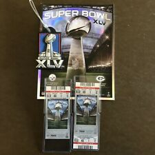 2 - 2011 Super Bowl XLV tickets Packers vs Pittsburgh Steelers Program & Bagtag