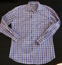 Mens Peter Millar Plaids Checks Long Sleeve Button Shirt Purple Large