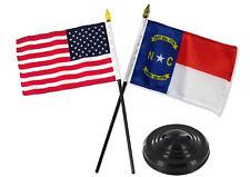 "North Carolina State w/ USA America American Flag 4""x6"" Desk Set Black Base"