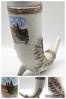 """German Footed Ceramic Textured Horn Stein Munchen Marienplatz  8""""H 8""""L 3 1/4""""W"""