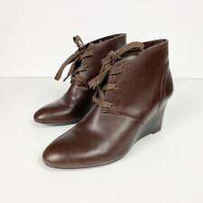 RALPH LAUREN Brown Leather Lace Up Wedge Ankle Boots Size 7