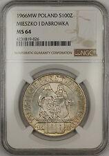 1966-MW Poland Mieszko I Dabrowka 100 Zlotych Silver Coin NGC MS-64 Very Choice