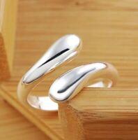 Damen Ring 925 Sterling Silber größenverstellbar Tropfen Drop Offen Open Silver