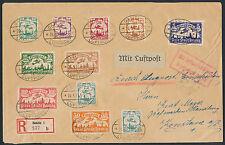 Danzig Flugpostserie 1923 Satzbrief Einschreiben Luftpost Attest (S14405)
