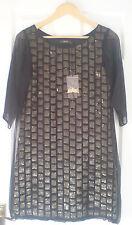 BNWT Talla 6 Reiss vestido de panel de lentejuelas negro y dorado