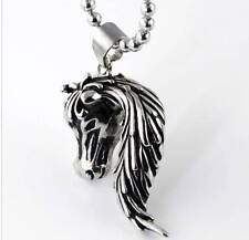 """3D STAINLESS STEEL HORSE PONY FOAL STALLION HEAD PENDANT NECKLACE & 24"""" CHAIN."""
