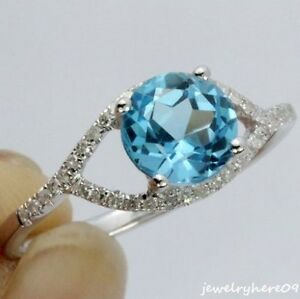 7mm Round Blue Topaz Engagement & Wedding Natural Diamonds Ring 14K White Gold