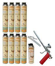 Schaumpistole + 8x750ml VWS Dämmstoffkleber Klebeschaum + 0,5l Reiniger PF3