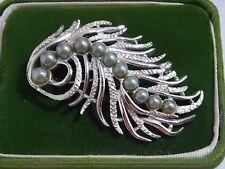 Precioso Vintage Sarah Coventry Plata Pluma Verde Abalorios Perlas Broche 6a 27