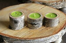 3 Rustic Wooden Branch Log SILVER BIRCH Tea Light Candle Holder Wedding Decor 01