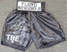 "FLOYD MAYWEATHER JR. AUTOGRAPHED SIGNED BLACK BOXING TRUNKS ""TMT"" BECKETT 159667"