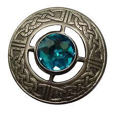 "New Men's Kilt Fly Plaid Brooch Sky Blue Stone Antique Finish 3""/Celtic Brooches"