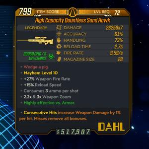 Xbox/PC Borderlands 3 [Level 72/M10] Sand Hawk (Corr) (1%DMG/Consec)