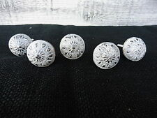 Small Distressed Off White Silver Floral Metal Knob - Drawer Pull - Home Decor