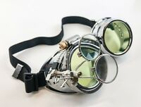 Steampunk Goggles Crazy GCG Burning man Cosplay Costume Mad Scientist 16X Green