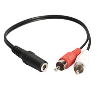 """3.5mm 1/8"""" Stereo Female to 2 Male RCA Jack Adapter AUX Audio Y Cable Splitter"""