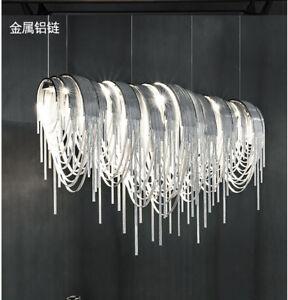 Luxury Tassel Chain Aluminum crystal Pendant Lamp Ceiling Light LED Chandelier