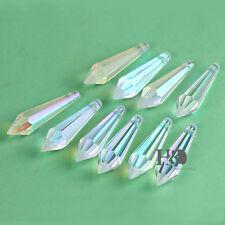 10pcs AB Coating Crystal Icicle Drop Prism Chandelier Pendant Part Decor 55mm
