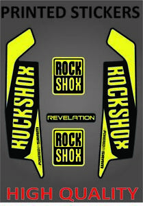 ROCKSHOX REVELATION YELLOW PRINTED STICKER DECALS SHEET BIKE BICYCLE FORK SHOCK