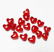 Ruby Red Sparkle Heart shaped Pony Beads made n USA kids valentines day crafts