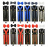 Unisex Clip-on Braces Elastic Bandana,Polka dot Suspender & Bowtie 12 Style