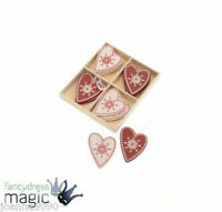 BOXED SET OF 12 WOODEN RED & CREAM HEARTS CHRISTMAS TREE DECORATION FESTIVE XMAS