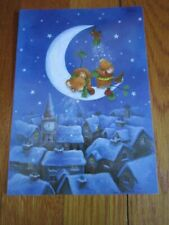 Christmas Mouse Card Mice on Crescent Moon Starry Night Snow Covered Rooftops