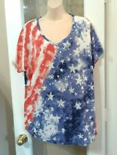 Womens Onque American Flag Stars Stripes Red White Blue Shirt Top Blouse 2x Plus