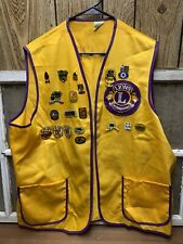 Vintage Mt View Lions Club Vest With Lots Of Pins Anchorage AK Old Patch XL