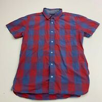 Tommy Hilfiger Button Up Shirt Mens XL Blue Red Check Short Sleeve Casual