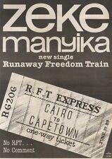 19/8/89Pgn02 Advert: Zeke Manyika New Single 'runaway Freedom Train' 15x11