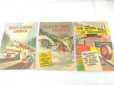 Lot (3) Railroad History Comic Rails Across America, Clear Track, Wheel Progress