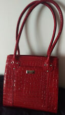 Osprey new vibrant red mock croc leather shoulder/hand bag.Medium.