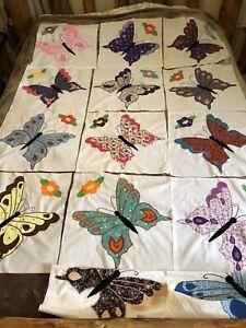 Lot Of 14 Vintage Appliqué Quilt Blocks Butterfly 17 X 17