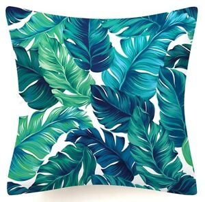 """Cushion COVER Blue White Floral Double-Sided Decorative Throw Pillow Case 18x18"""""""
