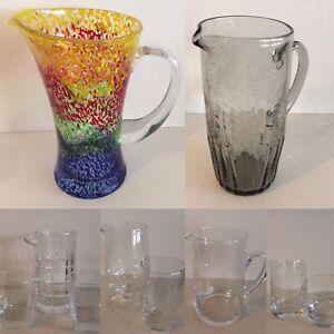 Krug Kanne Glaskanne Glaskrug Wasserkrug Saftkrug im Murano Style Whisky Set