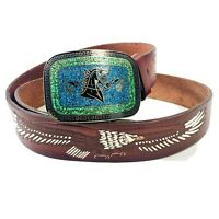 Taxco Belt Buckle Turquoise Inlay Mexican Silver Tooled Eagle Leather Belt 42in