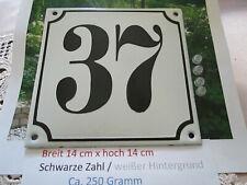 Hausnummer Emaille Nr. 37  schwarze Zahl auf weißem Hintergrund 14 cm x 14 cm