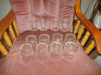 """Set of 12 Vintage On the Rock/Juice Glasses Textured Clear Glass 3 3/8"""" t x 3""""w"""