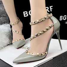 Sexy Women Party Shoes Buckle Rivets Strap Stiletto Pointed-toe High Heels Shoes