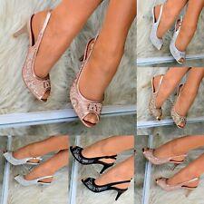 Ladies Diamante High Heel Slingback Shoes Peep toe Evening Party Wedding size